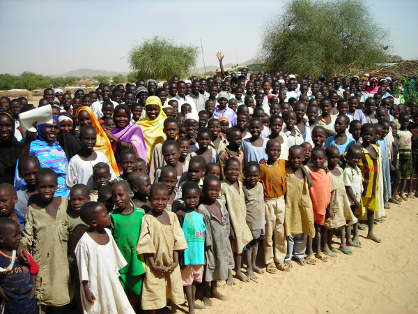 English students in Bredjing Refugee Camp, eastern Chad