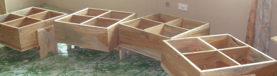 Kinderboxes built by local carpenter